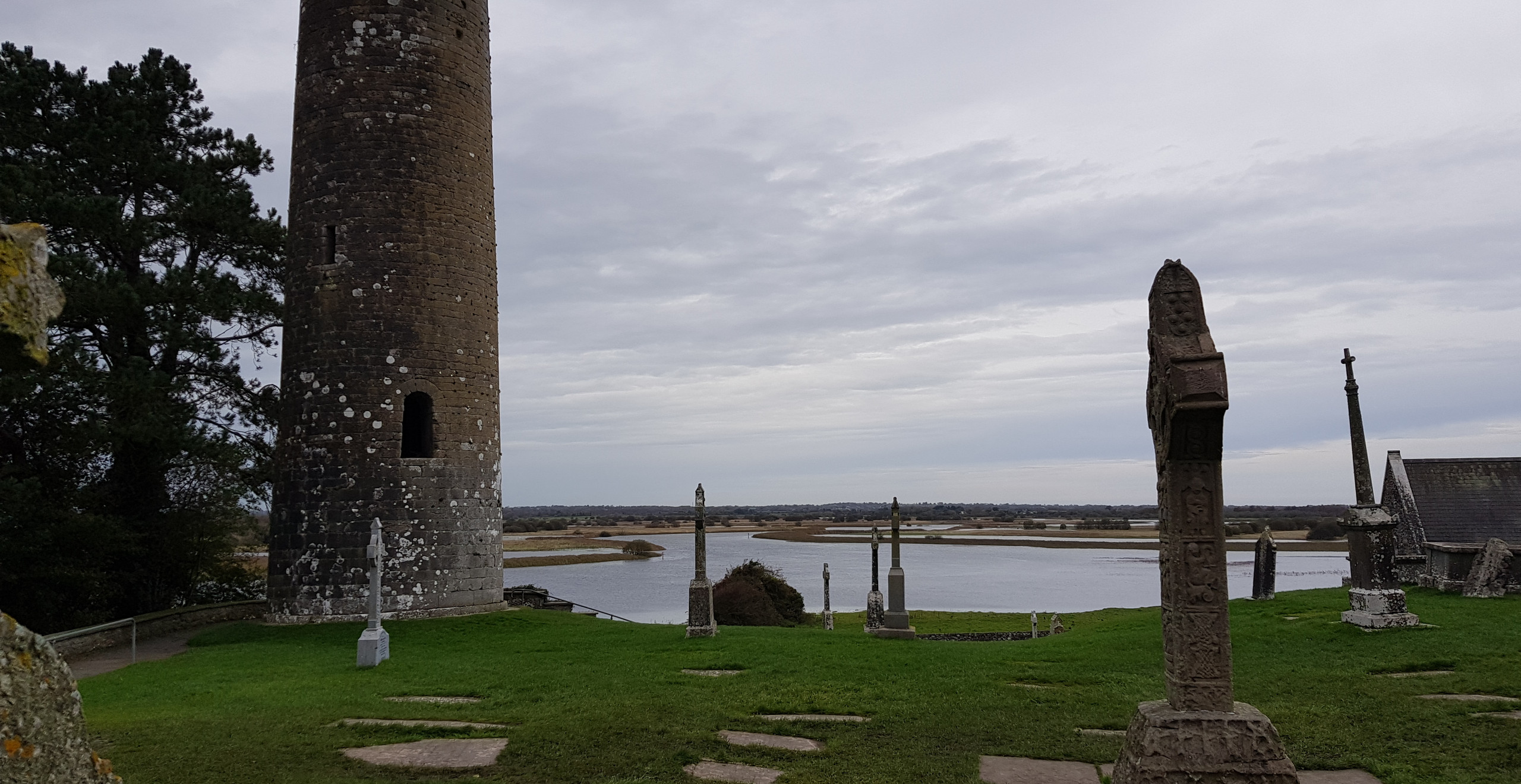 Tower, cross, & River Shannon