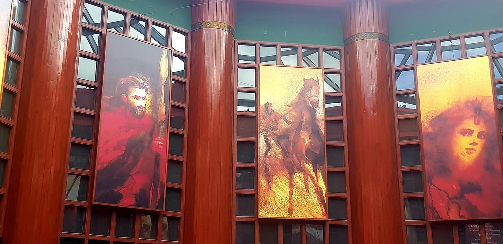Beautiful artwork hung inside the Visitor Centre at Emain Macha. www.aliisaacstoryteller.com