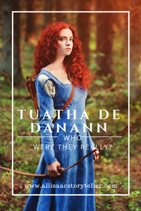 Tuatha de Danann. Who Were They Really? Girls with long red hair standing in forest holding a bow.