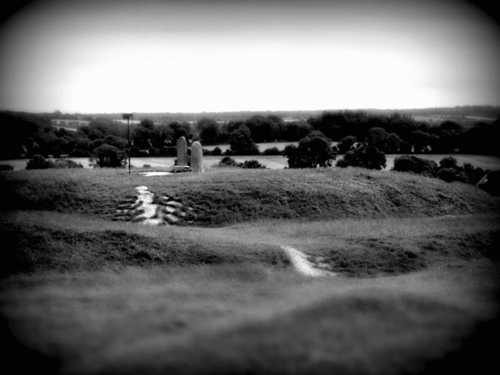 B&W image of the Lia Fail on top of the Hill of Tara, Ireland.
