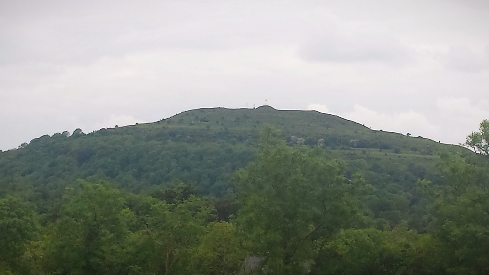 Low flat-topped hill rises out of tree tops, crowned with burial mound