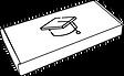 Een pictogram van een pakket in het zwart wit