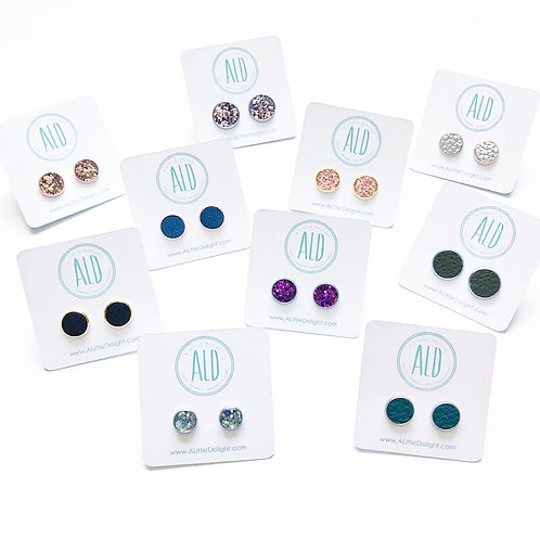 Bezel Stud Earrings - 10 Mixed Glitter & Faux Leather sets