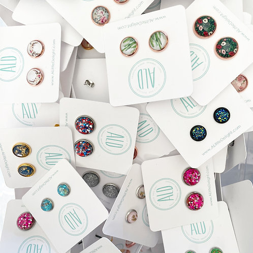 Limited Specialty Stud Earrings - 10 Mixed Glitter & Resin Print sets
