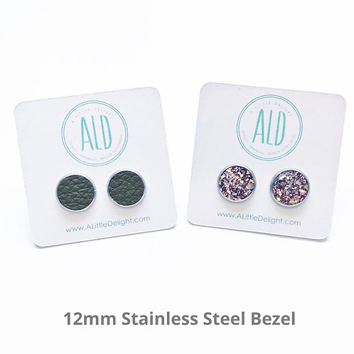 Glitter Resin Stud Earrings - 10 Mixed Glitter sets
