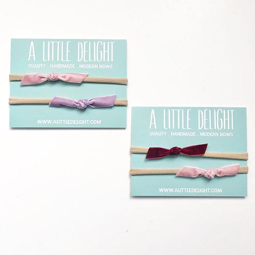Valentines 10 Pack - Newborn Velvet Knot Bow Set