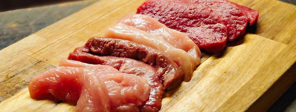 Charbonnade Mixte: bœuf, poulet, dinde, canard