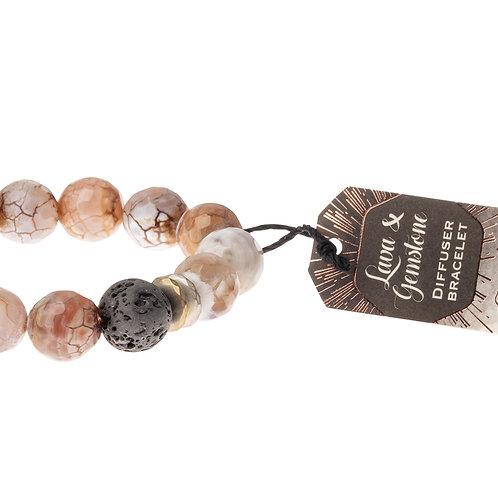 Lava & Gemstone Diffuser Bracelet- Sand Agate