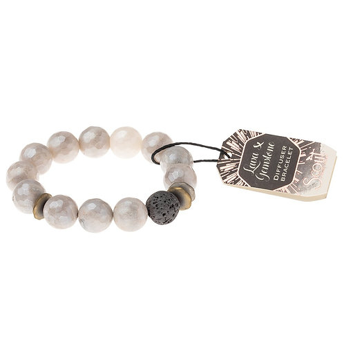 Lava and Gemstone Diffuser Bracelet-Champagne