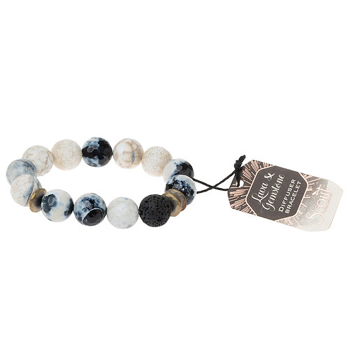 Lava & Gemstone Diffuser Bracelet-Marble