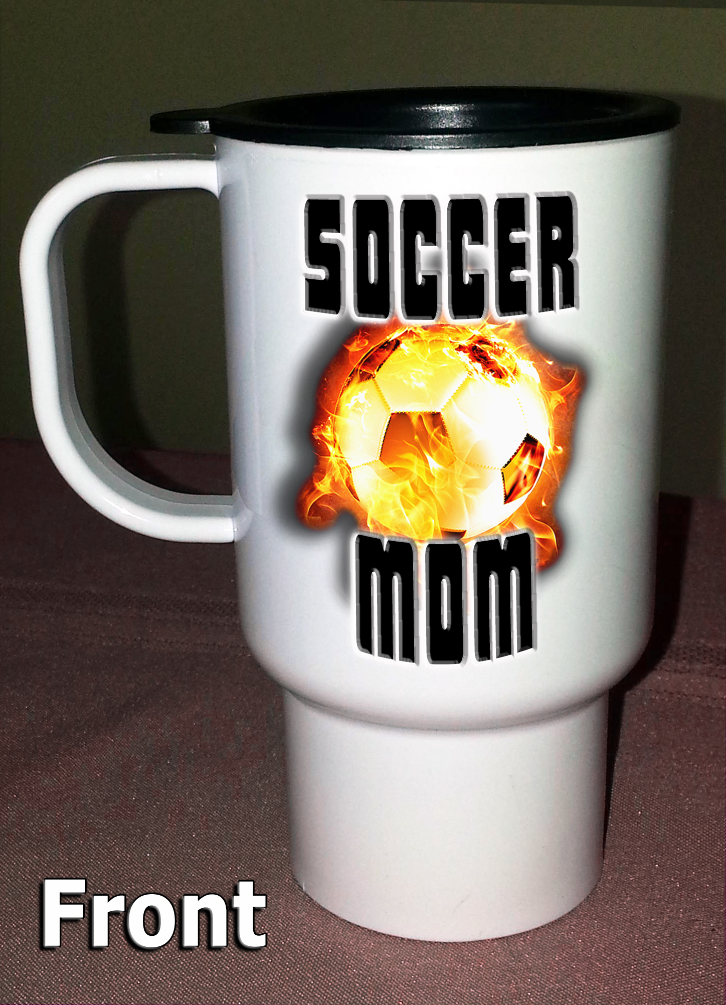 SOCCER MOM TRAVEL MUG (Front)