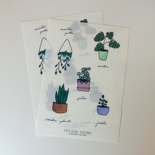 interior plants // clear sticker sheet