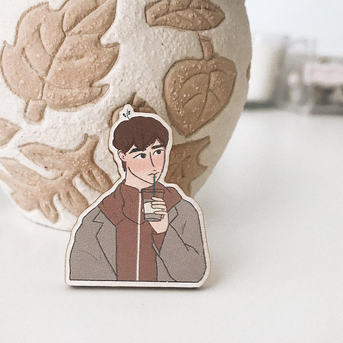 i just need coffee // wooden pin