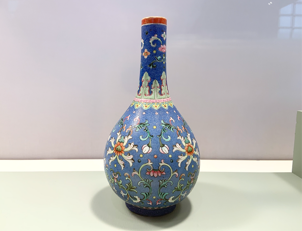 Famille Rose Blue Ground Floral Vase, Qianlong Mark and Period