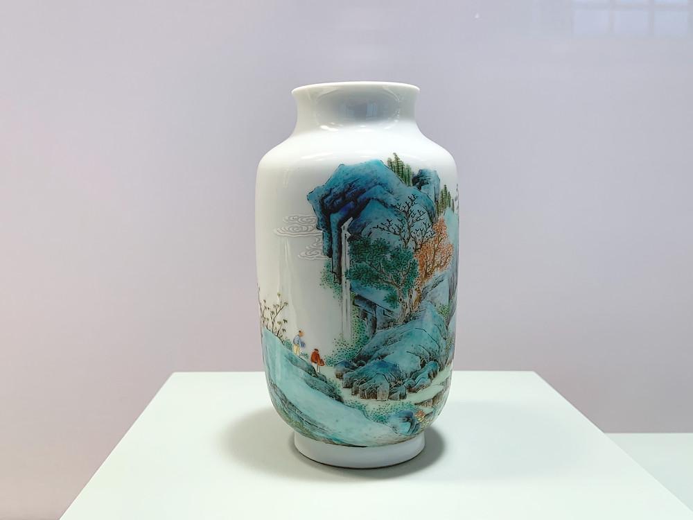 Famille Rose 'Landscape' Vase, Qianlong Mark and Period