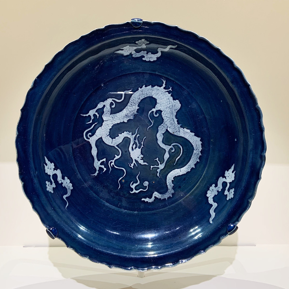 Large Reverse Blue and White Dragon Charger, Yuan Dynasty
