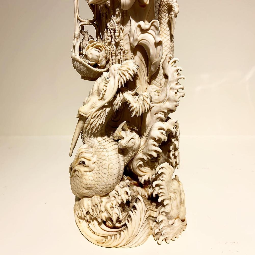 Tokyo School Gyokuren Okimono of Kannon's Dragon