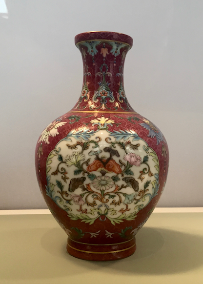 Imperial Red Ground Yangcai Vase, Qianlong Period