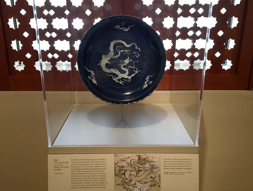 Yuan Blue and White Dragon Charger