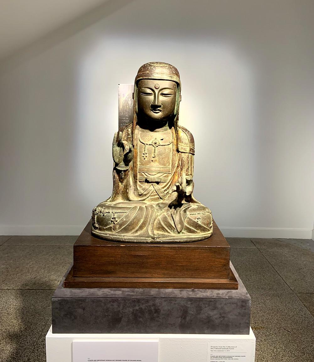 Korean Gilt Bronze Seated Ksitigarbha Bodhisattva