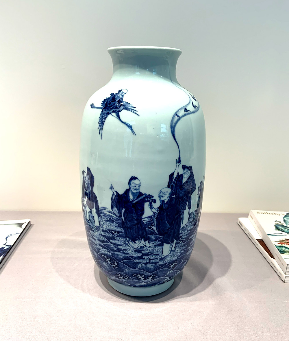 Qianlong Blue and White Daoist Immortal Vase