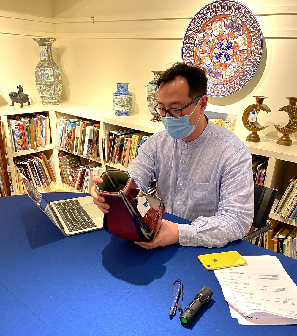 Anthony Wu at Heffel Vancouver with a Guangxu Flambe Fanghu Vase
