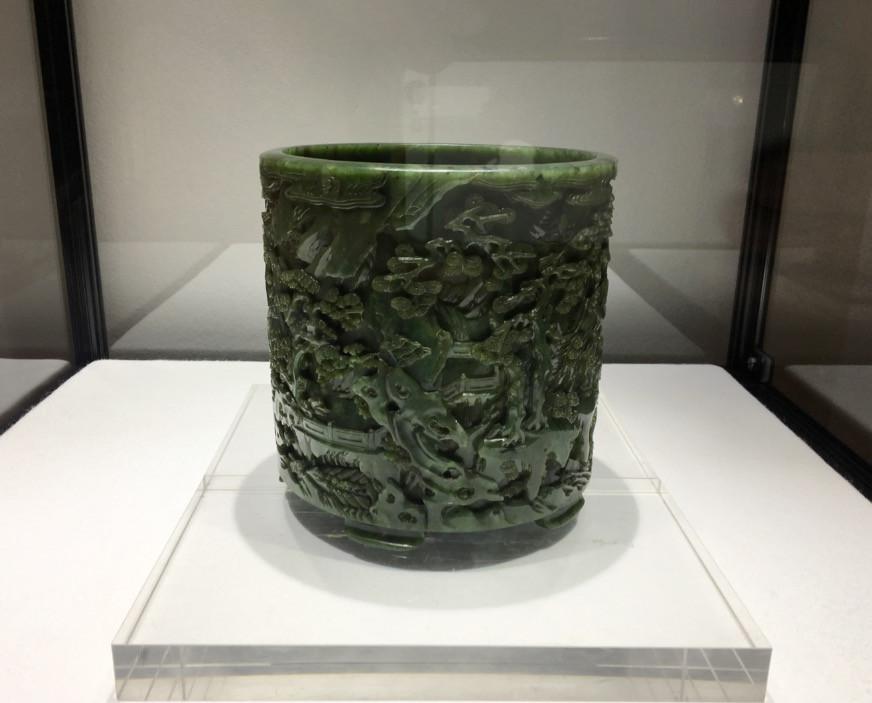 Green Jade Wulao Brushpot