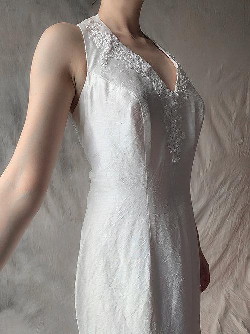 White crema vintage jedwab L