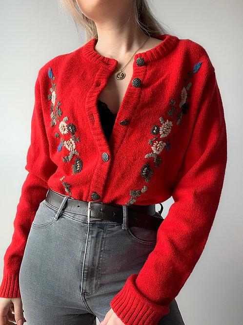 Wool red flower