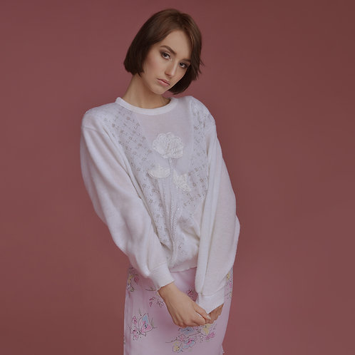 Sweterek white-flower