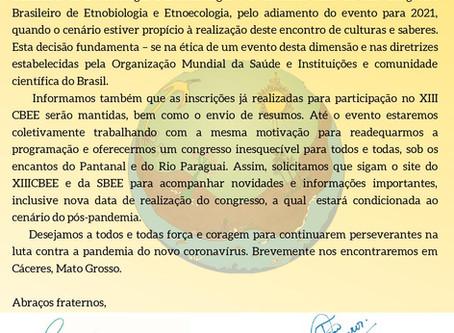 Comunicado Congresso Brasileiro de Etnobiologia e Etnoecologia - nova data em 2021 - COVID19