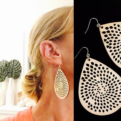 Laser Cut Wood earrings - Paddle Natural
