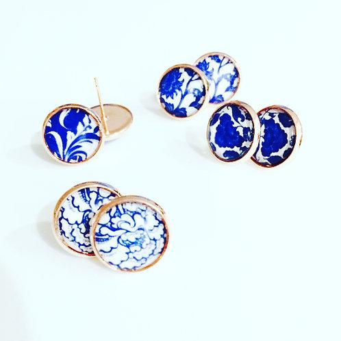 6 x Porcelain Glass Dome Stud Earrings