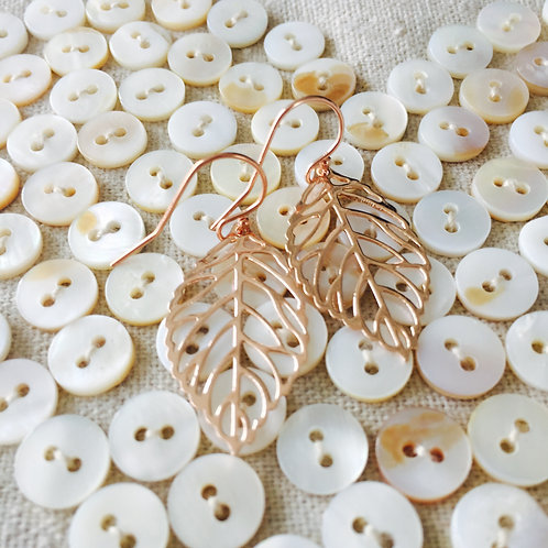 Delicate Rose Gold leaf Drops (w)