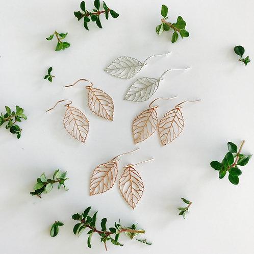 Delicate leaf drop earrings
