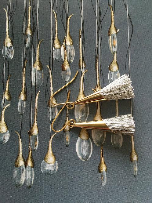 Botanical Tassel Earrings Silver (W)