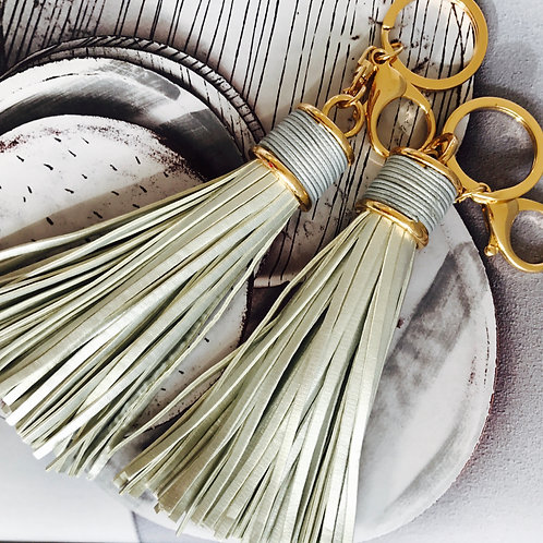 Large Metallic Tassel Keyring
