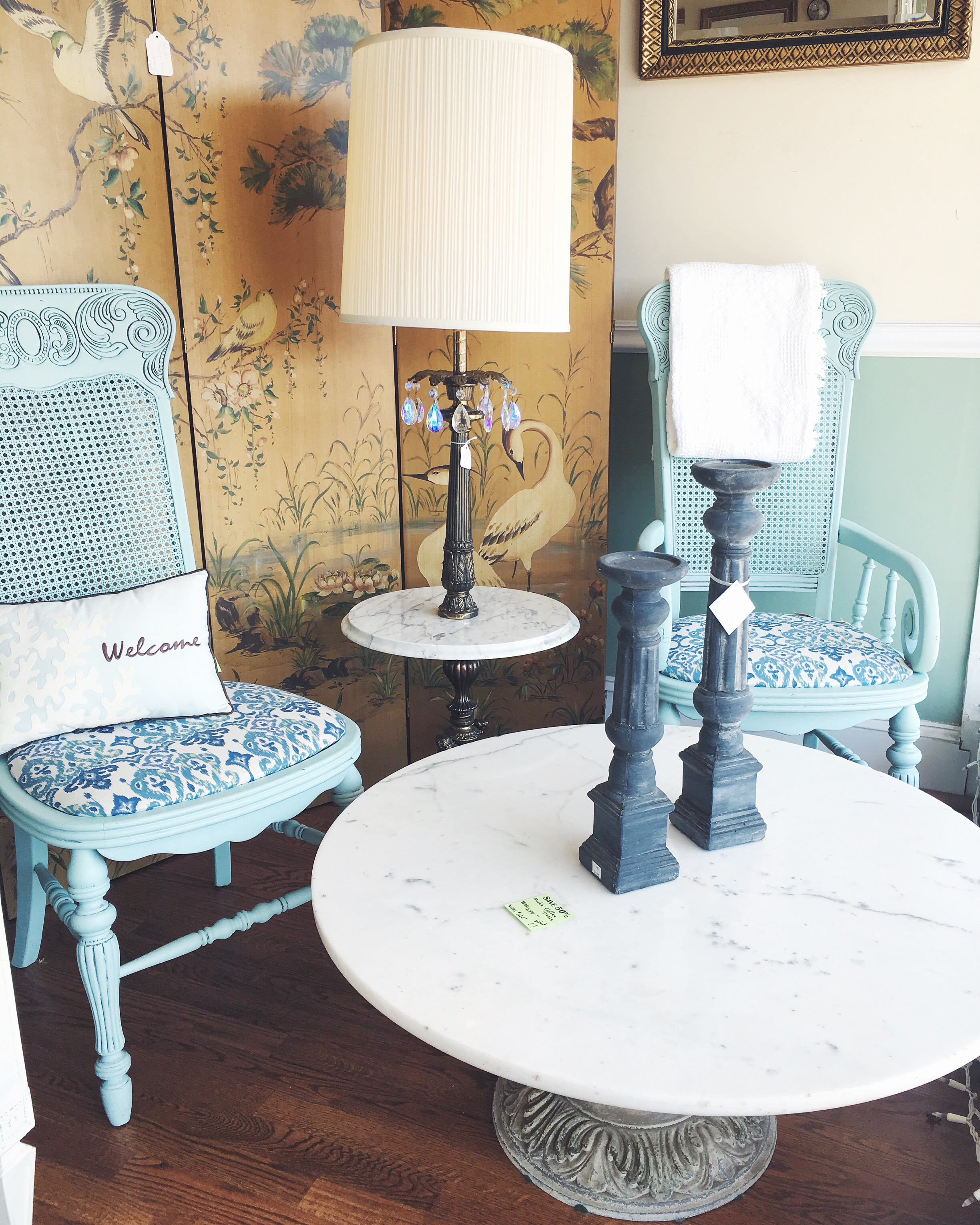 Mid-century tables & painted chairs
