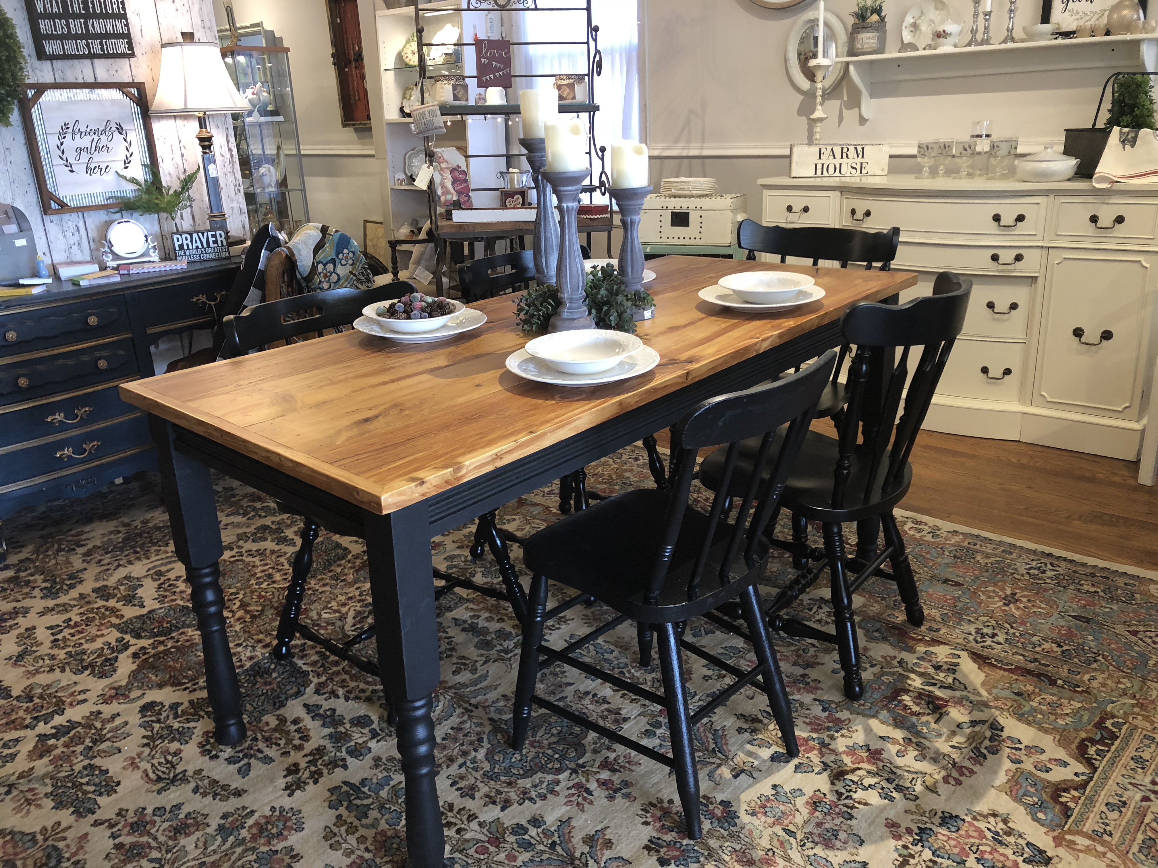 Farm Table with Black Base