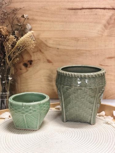 """Celadon """"basket"""" pot (2 sizes)"""