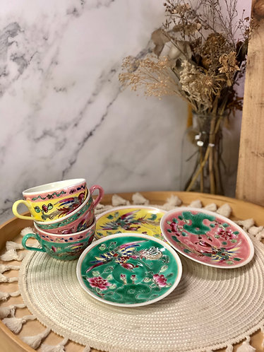 Peranakan round cup with saucer (3 colours)