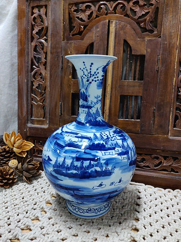 Blue White River Scenery Vase