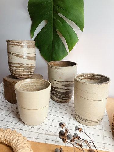 Dragon kiln fired x marbled cylinder  (4 designs)