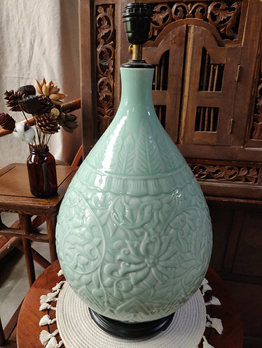 Jade Green Belly Vase Lamp