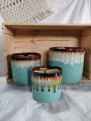 Mint Green Drip Glaze Pot (3 Sizes)