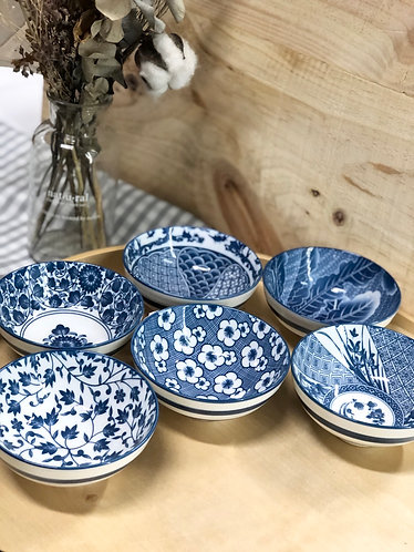 Blue & white printed bowl with stripe (6 designs)