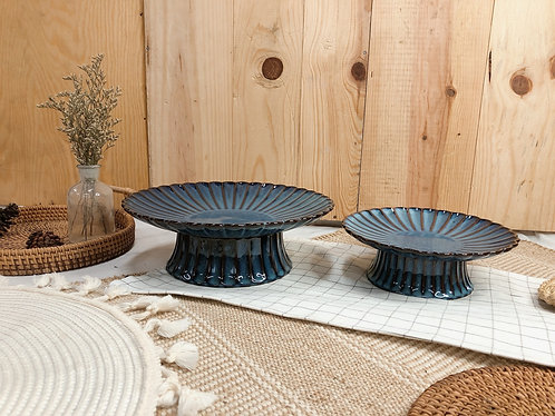 Scallop x blue | Cake stand (2 sizes)