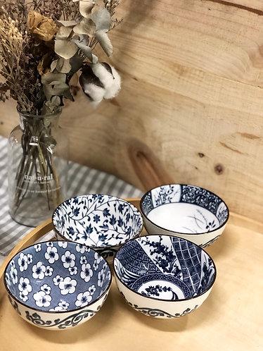 Blue & white printed bowl (4 designs)