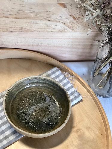 Jade glaze Dragon kiln fired shallow bowl