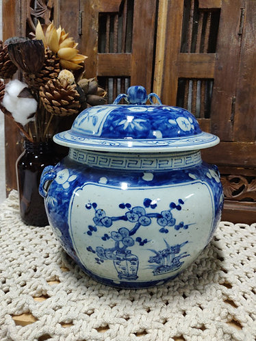 Blue White Floral Scene Urn with Cover